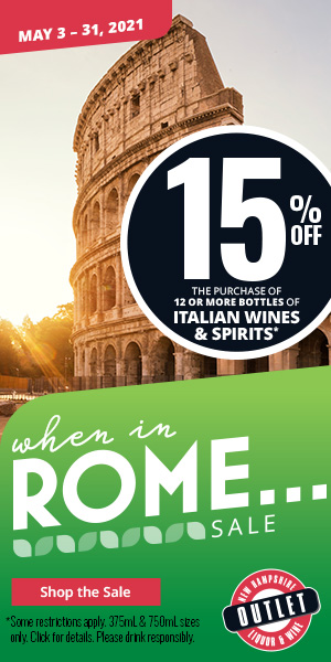 When in Rome... Sale - 15% off the purchase of 12 or more bottles of Italian Wines & Spirits *some restrictions apply. 375mL & 750mL sizes only. Click for details. Please drink responsibly.